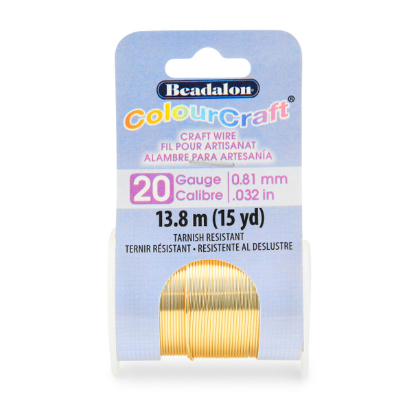 ColourCraft Wire, 20 Gauge (0.032 in, 0.81 mm), Gold Color, 13.7 m (15 yd) Spool