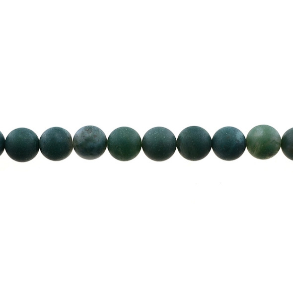 Moss Agate Round Frosted 10mm - Loose Beads