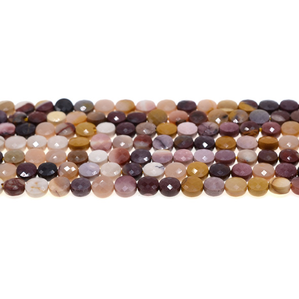 Mookaite Coin Puff Faceted Diamond Cut 6mm x 6mm x 3mm - Loose Beads