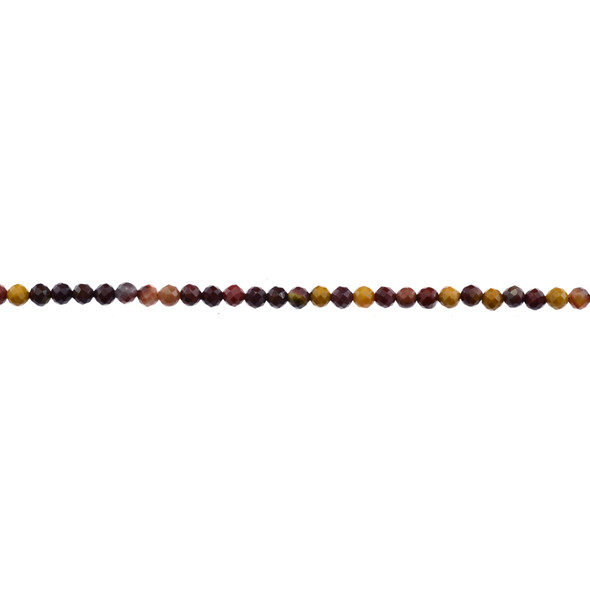 Mookaite Jasper Round Faceted Diamond Cut 3mm - Loose Beads