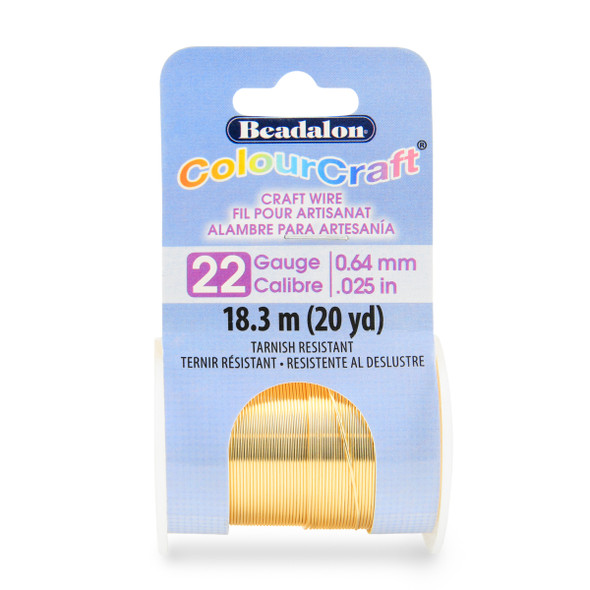 ColourCraft Wire, 22 Gauge (0.025 in, 0.64 mm), Gold Color,18.2 m (20 yd) Spool