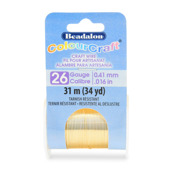 ColourCraft Wire, 26 Gauge (0.016 in, 0.41 mm), Gold Color, 31.0 m (34 yd) Spool