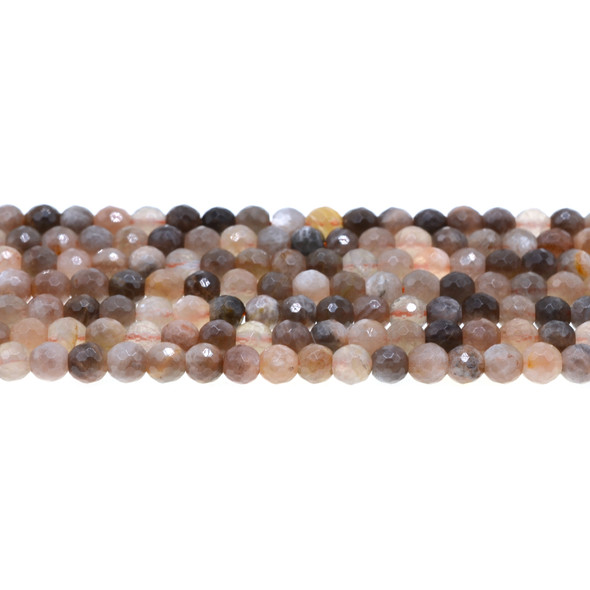 Black Multi-Color Moonstone AA Round Faceted 6mm - Loose Beads