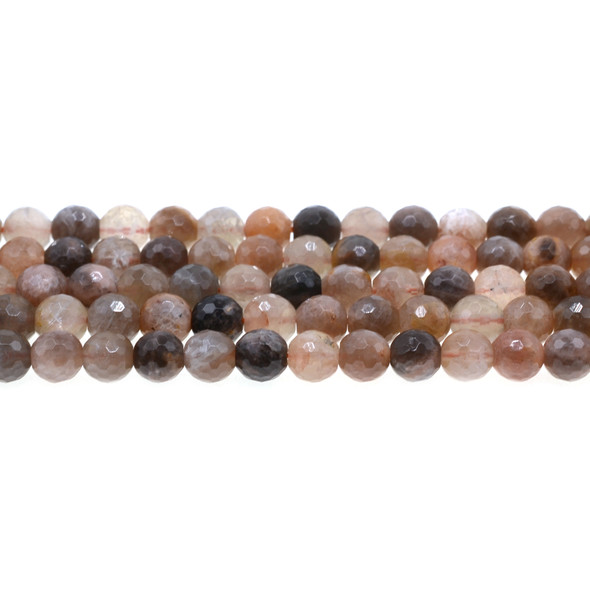 Black Multi-Color Moonstone AA Round Faceted 8mm - Loose Beads