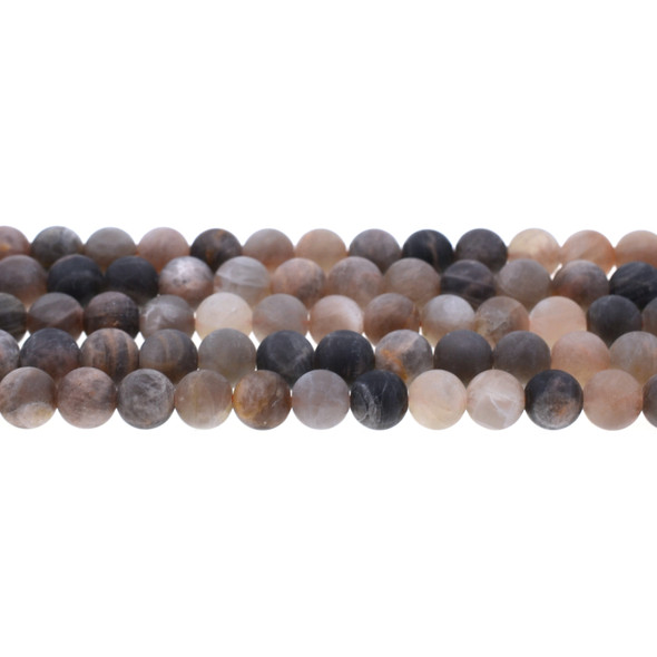 Black Multi-Color Moonstone AA Round Frosted 8mm - Loose Beads