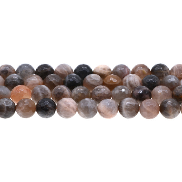 Black Multi-Color Moonstone AA Round Faceted 10mm - Loose Beads