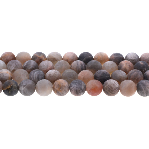 Black Multi-Color Moonstone AA Round Frosted 10mm - Loose Beads