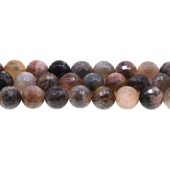 Black Multi-Color Moonstone AA Round Faceted 12mm - Loose Beads