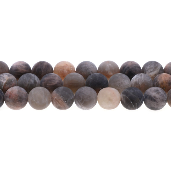 Black Multi-Color Moonstone AA Round Frosted 12mm - Loose Beads
