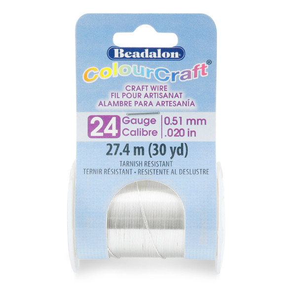 ColourCraft Wire, 24 Gauge (0.020 in, 0.51 mm), Tarnish Resistant Silver Plated, 27.4 m (30 yd) Spool