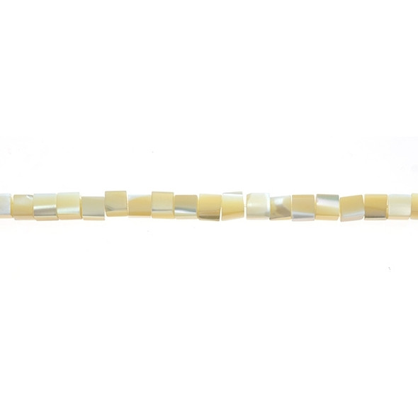 Natural Mother of Pearl Cube 4mm - Loose Beads