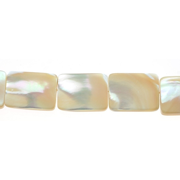 Natural Mother of Pearl Rectangular Flat 15mm x 20mm x 4mm - Loose Beads