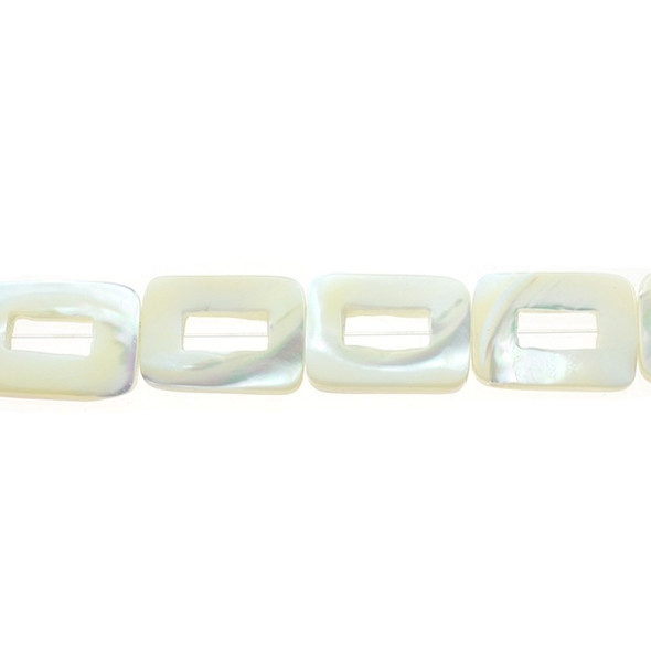 White Mother of Pearl Rectangular Flat with Hole 13mm x 18mm x 3mm - Loose Beads
