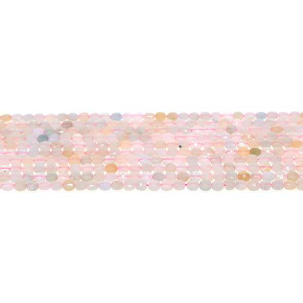 Morganite Coin Puff Faceted Diamond Cut 4mm x 4mm x 2mm - Loose Beads