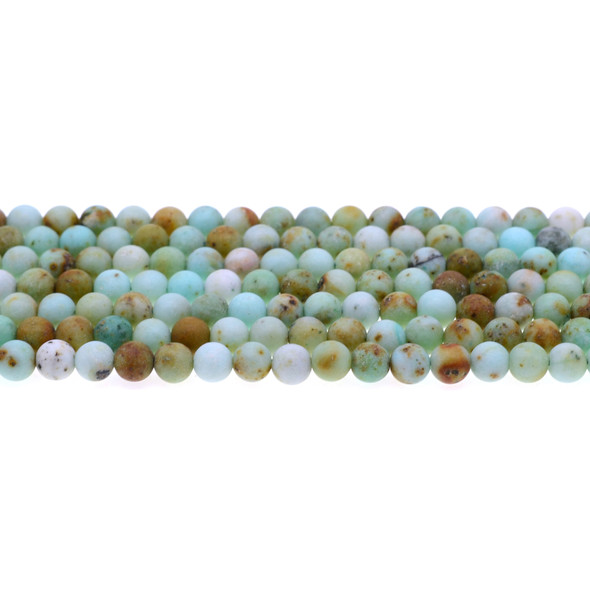 Natural Mongolian Turquoise Round Frosted 6mm - Loose Beads