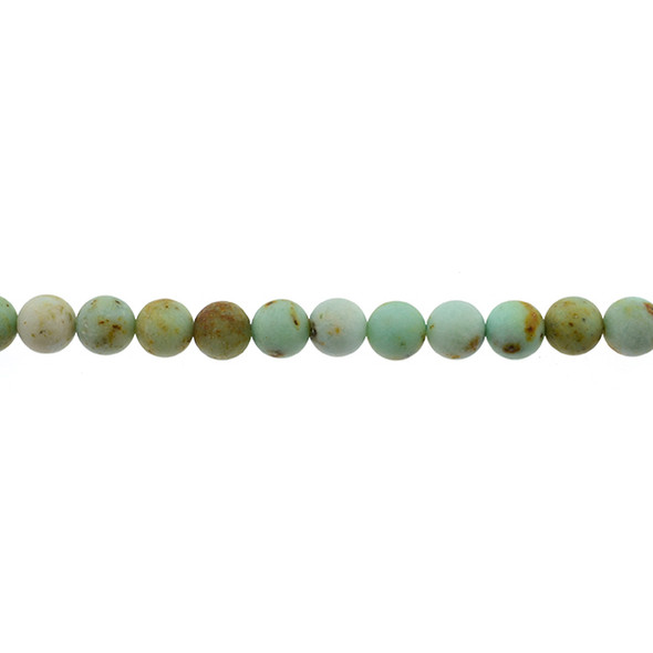 Natural Mongolian Turquoise Round Frosted 8mm - Loose Beads