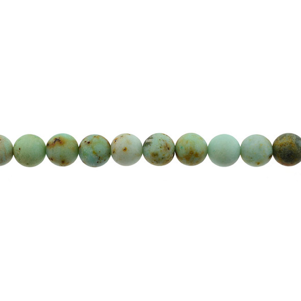Natural Mongolian Turquoise Round Frosted 10mm - Loose Beads