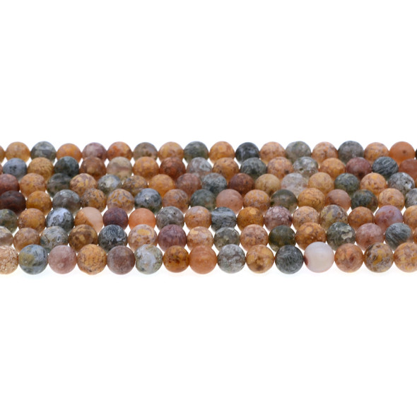 New Ocean Agate Jasper Round Frosted 6mm - Loose Beads