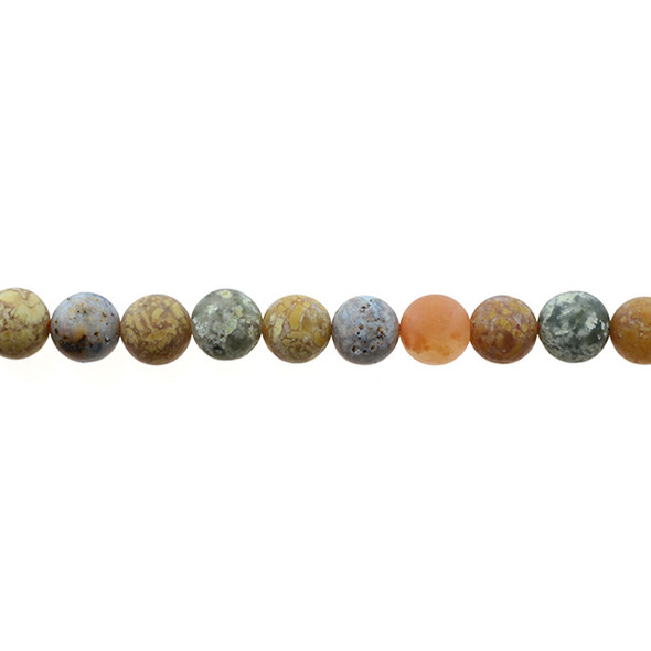 New Ocean Agate Jasper Round Frosted 8mm - Loose Beads