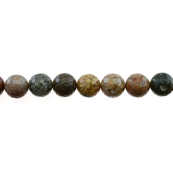New Ocean Agate Jasper Round Faceted 10mm - Loose Beads
