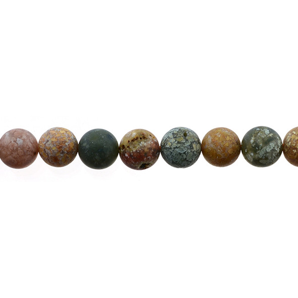 New Ocean Agate Jasper Round Frosted 10mm - Loose Beads