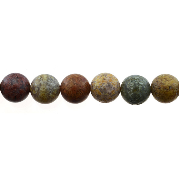 New Ocean Agate Jasper Round Frosted 12mm - Loose Beads