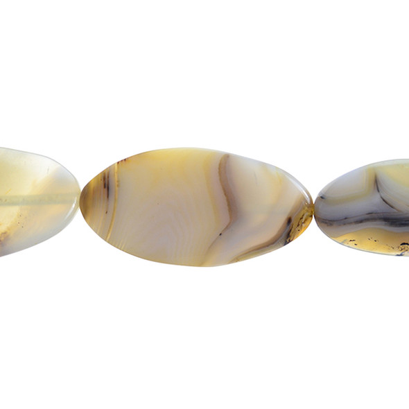 Natural Agate Oval Flat Swirl 25mm x 50mm x 6mm - Loose Beads