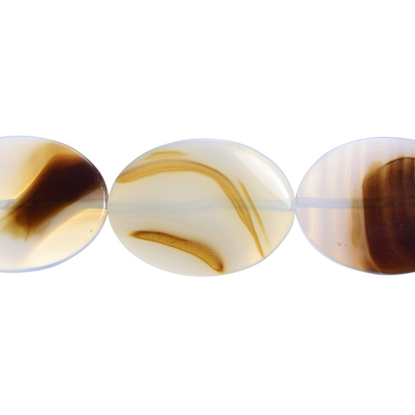 Natural Agate Oval Flat Swirl 30mm x 38mm x 5mm - Loose Beads
