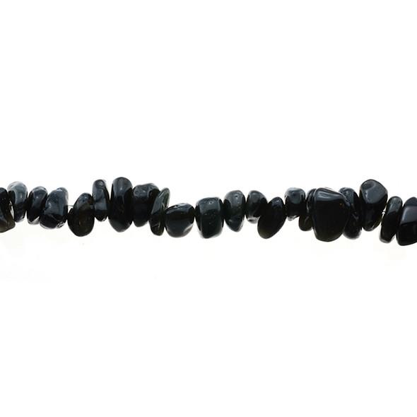 Black Obisidian Chips 7mm x 7mm x 5mm - Loose Beads