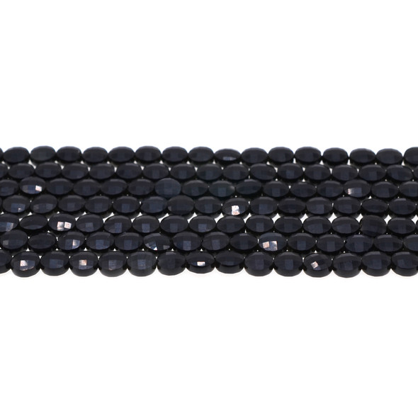 Black Obsidian Coin Puff Faceted Diamond Cut 6mm x 6mm x 3mm - Loose Beads