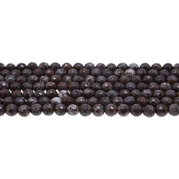 Chinese Snowflakes Obsidian Round Faceted 6mm - Loose Beads