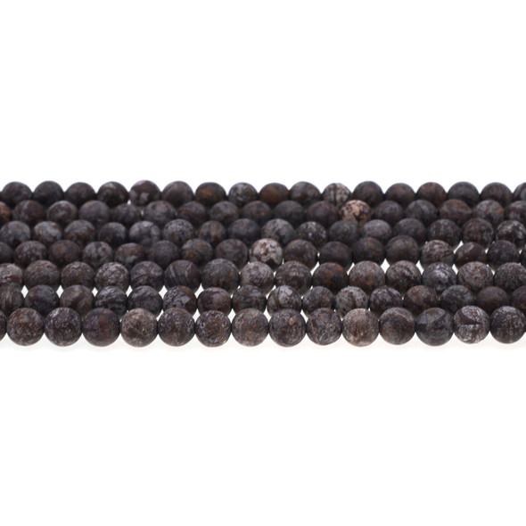 Chinese Snowflakes Obsidian Round Frosted 6mm - Loose Beads