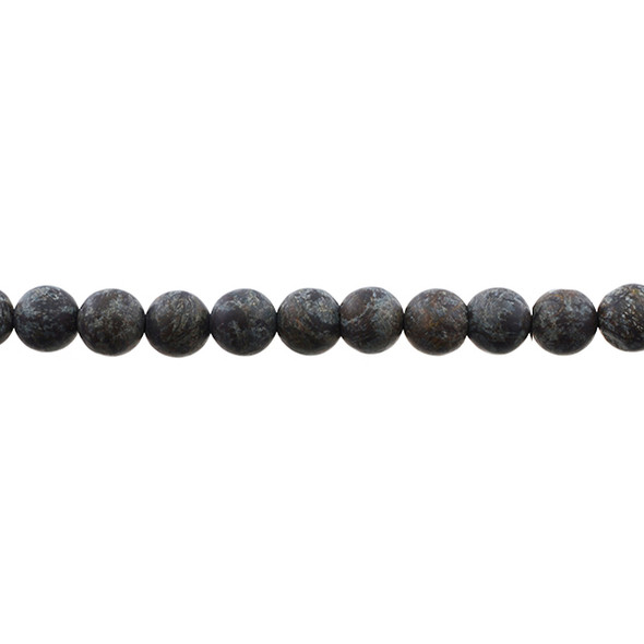 Chinese Snowflakes Obsidian Round Frosted 8mm - Loose Beads