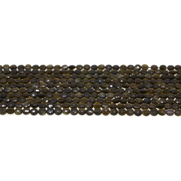 Golden Obsidian Coin Puff Faceted Diamond Cut 4mm x 4mm x 2mm - Loose Beads