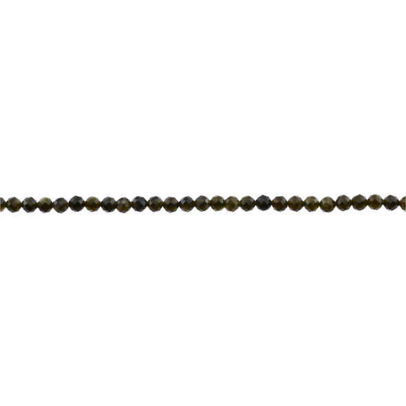 Golden Obsidian Round Faceted Diamond Cut 3mm - Loose Beads