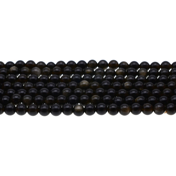 Golden Obsidian Round 6mm - Loose Beads