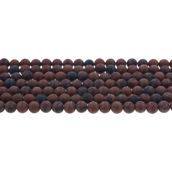Mohogany Obsidian Round Frosted 6mm - Loose Beads