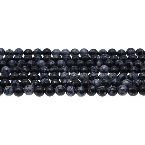 Snowflake Obsidian Round 6mm - Loose Beads