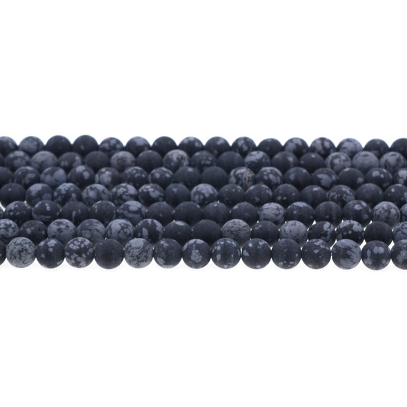 Snowflake Obsidian Round Frosted 6mm - Loose Beads
