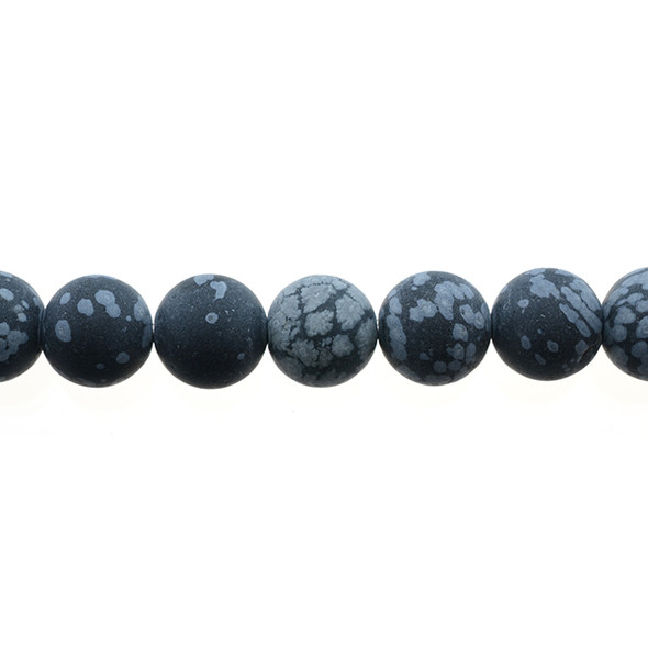 Snowflake Obsidian Round Frosted 10mm - Loose Beads