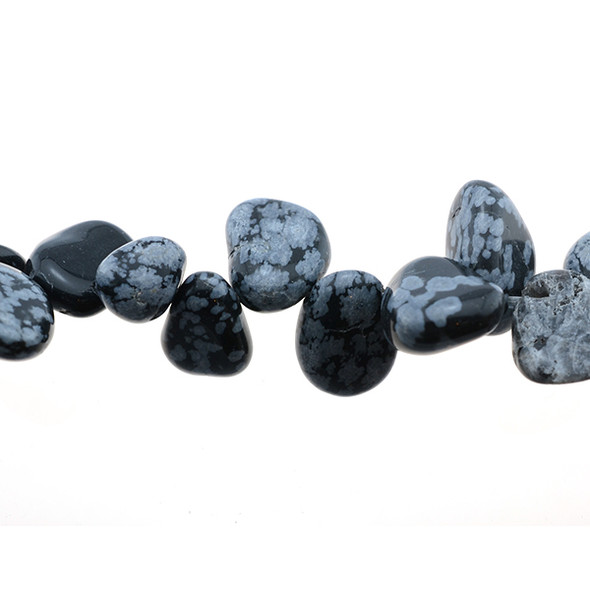 Snowflake Obsidian Tumble Side Drilled 12mm x 9mm x 4mm - Loose Beads