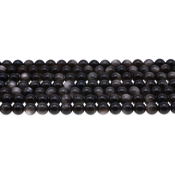 Silver Sheen Obsidian Round 6mm - Loose Beads