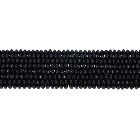 Black Onyx Abacus 6mm x 6mm x 3mm - Loose Beads