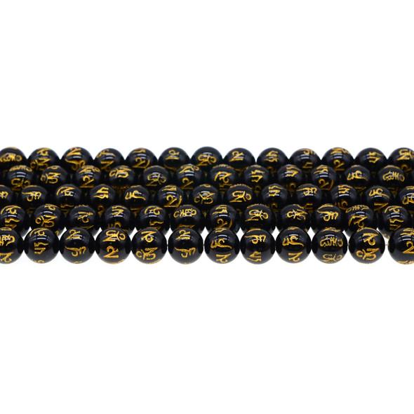 Black Onyx with Tibetan Inscription Round 8mm - Loose Beads