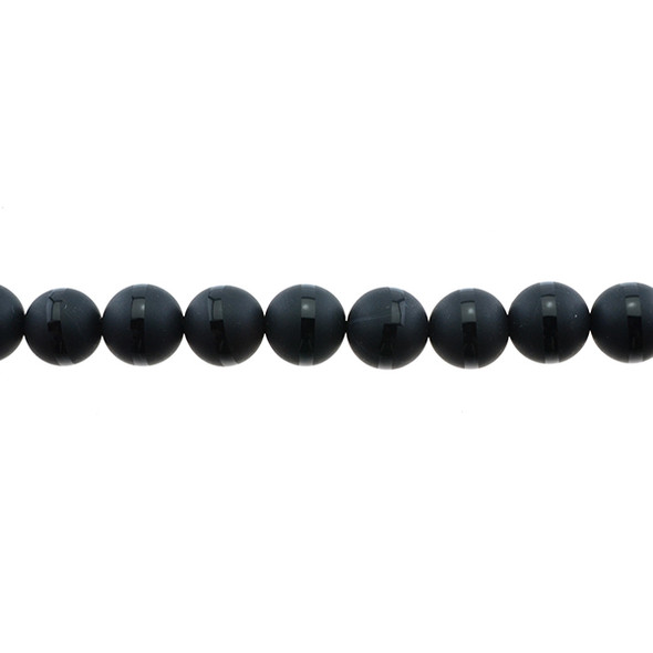 Onyx with Line Round Frosted 10mm - Loose Beads