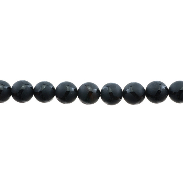 Black Onyx with Pattern Round Frosted 10mm - Loose Beads
