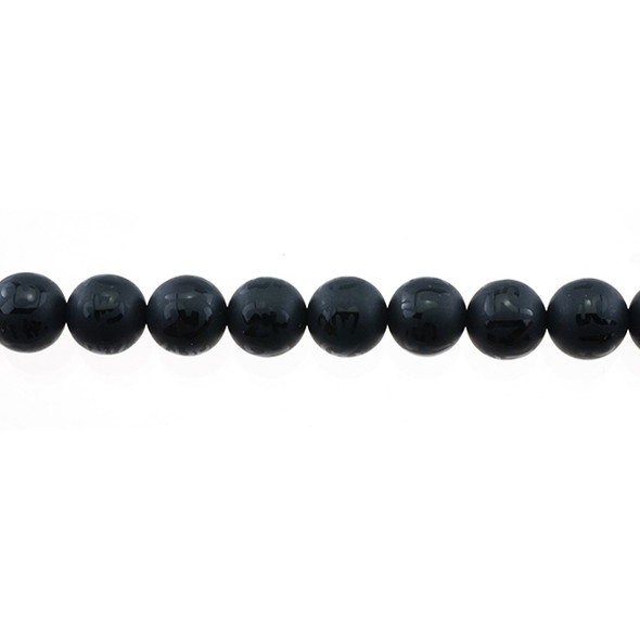 Black Onyx with Tibetan Inscription Round Frosted 10mm - Loose Beads
