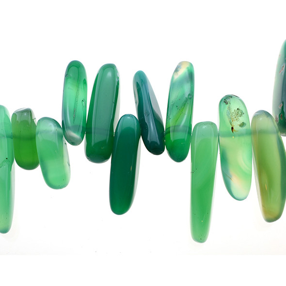 Green Onyx Chip Sticks 16mm x 6mm x 5mm - Loose Beads