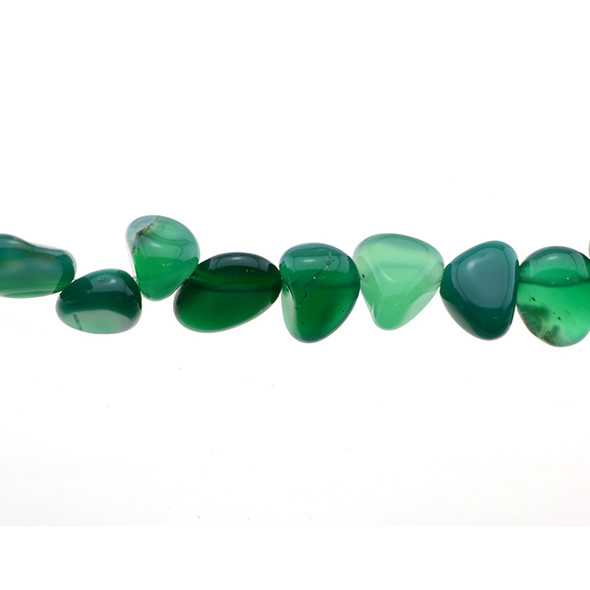 Green Onyx Tumble Side Drilled 12mm x 9mm x 4mm - Loose Beads