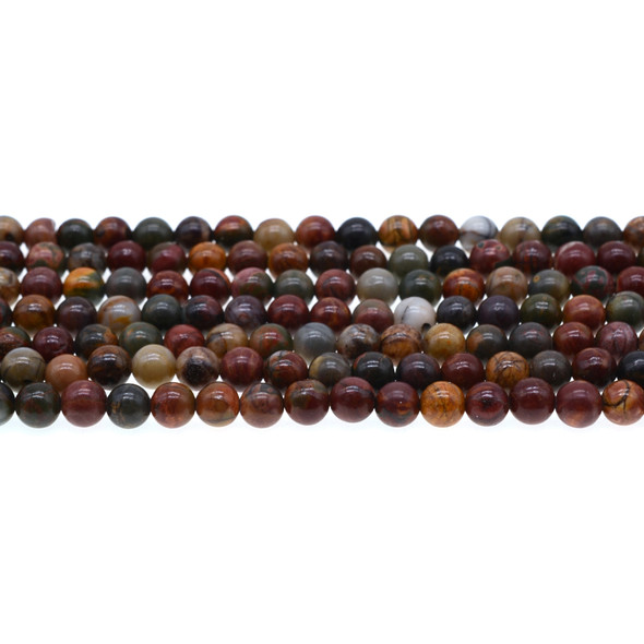 Red Picasso Jasper Round 6mm - Loose Beads